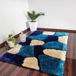 "Designer Rug-Shaggy Modern Rugs with ""Stones on Blue Background"" Design-Best Seller@Avioni Factory Price"