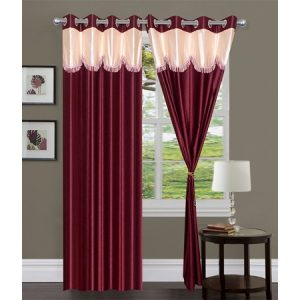 Curtains In Maroon Heavy Stylish Lace Crush Material (set of 2)