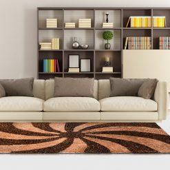 Designer Rugs From Avioni – Shag Carpet with Modern Brown Beige Swirl Illusion Design  @ Avioni Factory Price