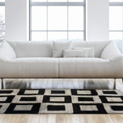 Modern Area Rug For Living Room – Contemporary Shaggy Black And Grey Squares Design  – by Avioni Carpets