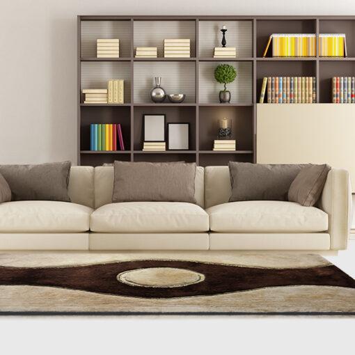 Beautiful Shag Rugs - Modern Carpet - Coffee and Beige Curve Design - Avioni  - Factory Prices