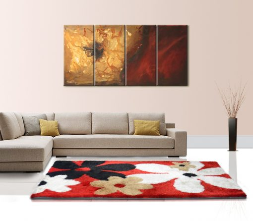 Modern Shag Carpet For Living Room - Contemporary Red Shaggy Floral Design - Avioni