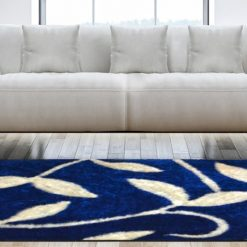Designer Shaggy Carpet Blue with Cream Leaves In Premium By Avioni