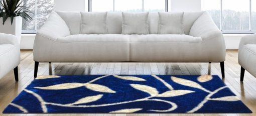 Designer Shaggy Carpet Blue with Cream Leaves In Premium By Avioni