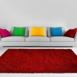 Shaggy  Plain Carpet Red Premium Look By Avioni