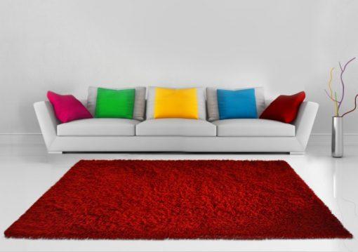 Shaggy  Plain Carpet Red In Viscose Premium Look By Avioni