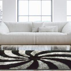 Designer Rugs From Avioni – Shag Rug with Modern Black Grey Swirl Illusion Design  –  Best Seller @ Avioni Factory Price