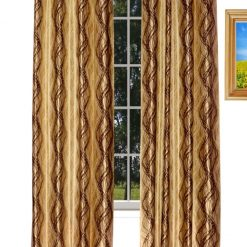 Avioni Home Fancy Rich Look  Brown And Golden Waves Eyelet Curtain Polyester Material