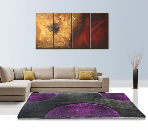Shaggy Rugs For living Room – Modern Carpet Design – Purple and Black Semicricle Contemporary Pattern – Avioni  – Factory Prices
