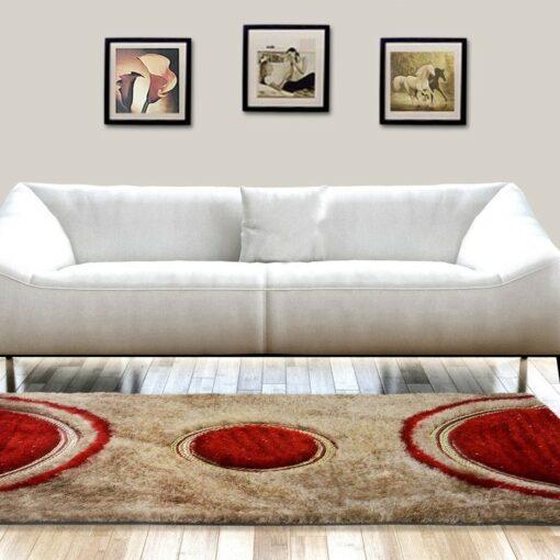 Shag Carpet -  Modern Rug in Beige and Red Design  -  Avioni  - Best Deal