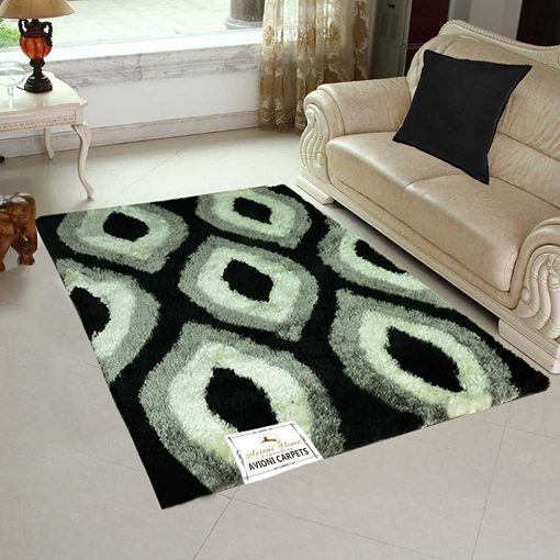 Designer Rugs - Shaggy Carpet with Comptemporary Black/Grey Design  - Best Seller @ Factory Price from Avioni