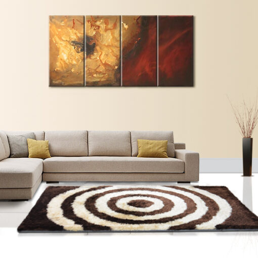 Beautiful Shag Rugs - Modern Carpet - Coffee and Beige Circles Contemporary Design - Avioni  - Factory Prices