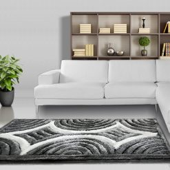 Designer Rugs – Shaggy Carpet Grey with Coffee Curves Design  – Avioni Modern Rugs – Best Seller