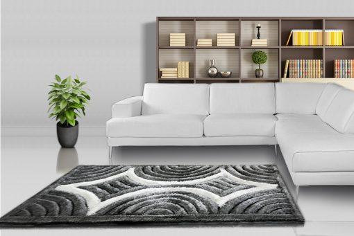 Designer Rugs - Shaggy Carpet Grey with Coffee Curves Design  - Avioni Modern Rugs - Best Seller