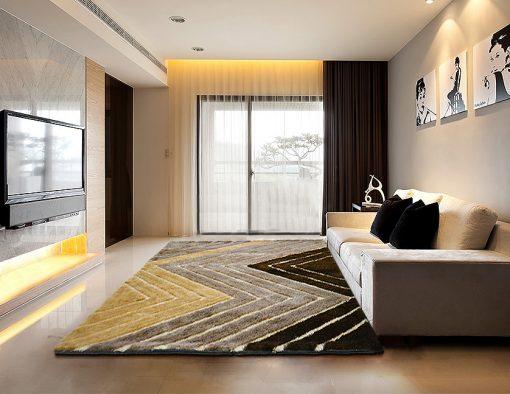 Modern Area Rug – Shag Pile Carpet in Multicolor 3D Modern Waves Design  –  Avioni  – Best Deal