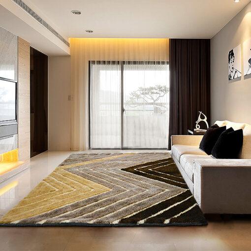 Modern Area Rug - Shag Pile Carpet in Multicolor 3D Modern Waves Design  -  Avioni  - Best Deal