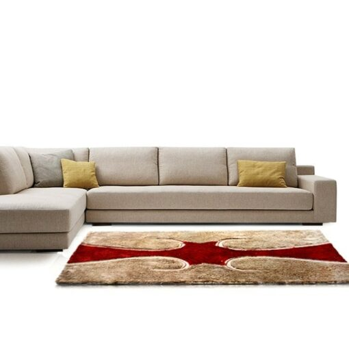 Modern Rug - Shag Pile Carpet in Beige and Red Design  -  Avioni  - Best Deal