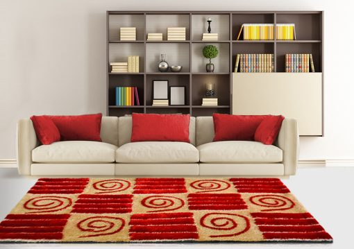 Shag Rug – Red Carpet in Modern Squares Design  – Contemporary Rugs by Avioni  – Best Seller