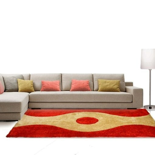 Shag Rug - Red & Beige Carpet in Modern Design  -  Avioni  - Best Deal