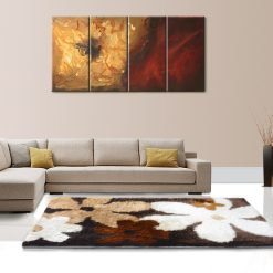 Modern Shag Carpet For Living Room – Contemporary Shaggy Design with Brown Flowers – Avioni