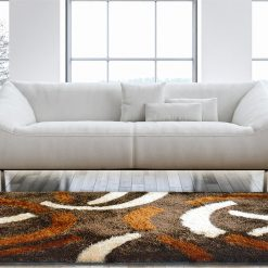 Shaggy Carpets Coffee With Multicolor Design By Avioni