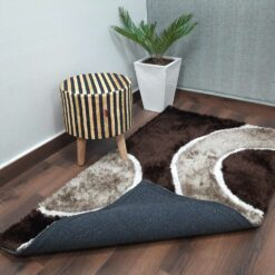 Designer Rugs From Avioni – Shag Carpet with Modern Brown Beige Swirl Illusion Design  @ Avioni Factory Price