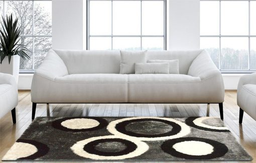 Shag Rug for living Room - Modern Contemporary Black Carpet With Multicolor Rounds - Avioni