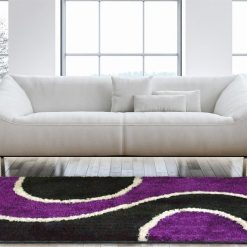 Shaggy Carpets Purple With Black Curve By Avioni