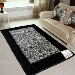 Avioni Rugs  Black And Silver Rugs  For Living Room Actual Feather Touch- Softness Guaranteed-Handloom Made Reversible Light Weight