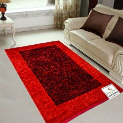Avioni Rugs  Red And Black  For Living Room Actual Feather Touch- Softness Guaranteed-Handloom Made Reversible Light Weight
