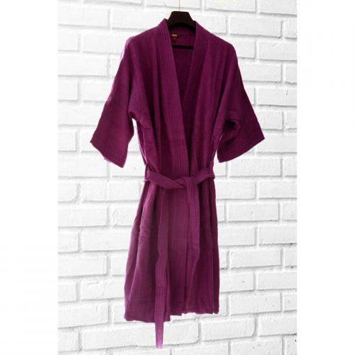 Loomkart Very Fine Export Quality Bath Robes in Purple Without Hood in Avioni Zip-Packing Unisex