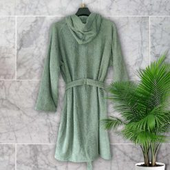 Loomkart Very Fine Export Quality Bath Robes in Grey With Hood in Avioni Zip-Packing- Standard Size