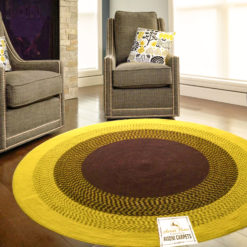 "Avioni Cotton Braided Sunflower Look Area Rug 140CMS (Diameter) round, ""Nature Collection"" Specially designed for festive season, Handmade by Skilled Artisan, Cotton Rich Vibrant Colors Yarn, Thick ribbed construction, Reversible"