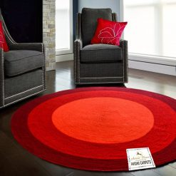 "Avioni Cotton Braided Rising Sun Area Rug 140CMS (Diameter) round ""Nature Collection"" Specially designed for festive season, Handmade by Skilled Artisan, Cotton Rich Vibrant Colors"