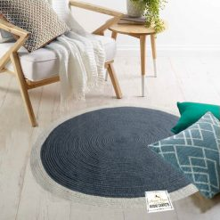 "Avioni Cotton Handmade Gray Area Rug 140CMS (Diameter) round, ""Nature Collection"" Specially designed for festive season, Handmade by Skilled Artisan, Cotton Rich Vibrant Colors"