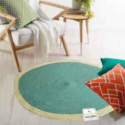 "Avioni Cotton Handmade Light Blue Area Rug 140CMS (Diameter) round, ""Nature Collection"" Specially designed for festive season, Handmade by Skilled Artisan, Cotton Rich Vibrant Colors Yarn"