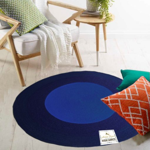 """Avioni Cotton Braided Blue Sky Look Area Rug 140CMS (Diameter) round, """"Nature Collection"""" Specially designed for festive season, Handmade by Skilled Artisan, Cotton Rich Vibrant Colors Yarn, Thick ribbed construction, Reversible for double the wear, Rug pad recommended"""