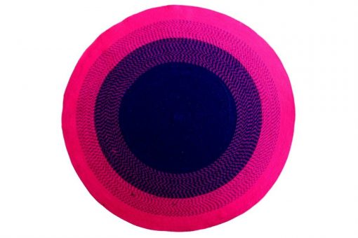 """Avioni Cotton Braided Flower Look Pink And Blue Area Rug (Warm Look For Winters) 140CMS (Diameter) round, """"Nature Collection"""" Specially designed for festive season, Handmade by Skilled Artisan, Cotton Rich Vibrant Colors Yarn,"""