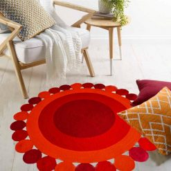"Avioni Cotton Braided Blooming Flower Area Rug 140CMS (Diameter) round ""Nature Collection"" Specially designed for festive season, Handmade by Skilled Artisan, Cotton Rich Vibrant Colors Yarn, Thick ribbed construction"