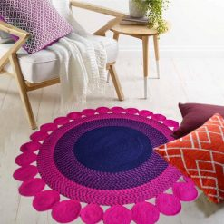 "Avioni Cotton Braided Pink Blooming Flower With Patels 140CMS (Diameter) round ""Nature Collection"" Specially designed for festive season, Handmade by Skilled Artisan, Cotton Rich Vibrant Colors, Thick ribbed construction, Reversible"