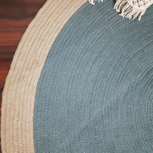 """Avioni Cotton Handmade Light Blue Area Rug 140CMS (Diameter) round, """"Nature Collection"""" Specially designed for festive season, Handmade by Skilled Artisan, Cotton Rich Vibrant Colors Yarn"""