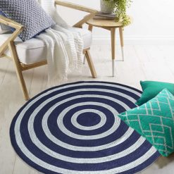 "Avioni Cotton Braided Blue And White 140CMS (Diameter) round ""Nature Collection"" Specially designed for festive season, Handmade by Skilled Artisan, Cotton Rich Vibrant Colors"