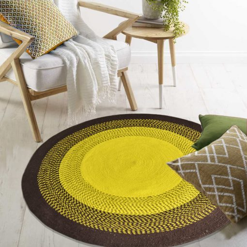 "Avioni Cotton Braided Sunflower Look Area Rug 140CMS (Diameter) round ""Nature Collection"" Specially designed for festive season, Handmade by Skilled Artisan, Cotton Rich Vibrant Colors"