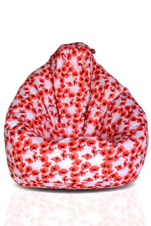 BIGMO Designer Bean Bags XXL Eye Catching Prints Waterproof Material Soft Touch Easy to Wash – Light Red Flowers on White – Without beans
