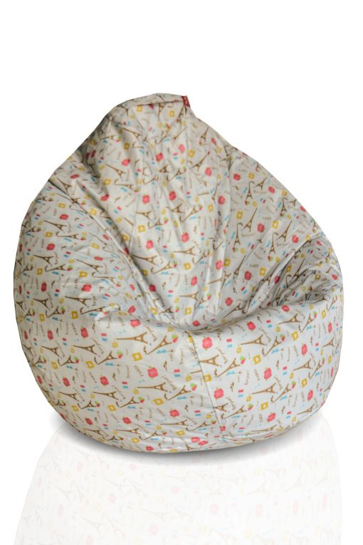 BIGMO Designer Bean Bags XXL Eye Catching Prints Waterproof Material Soft Touch Easy to Wash – With Love from Paris – Without beans