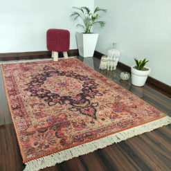 Avioni Faux Silk Carpet – Neo Persian Collection Ethnic Red