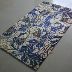 Avioni Carpet – Faux Silk- Neo Modern Collection Blue Floral- 3×5 Feet
