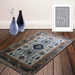 Avioni Carpet – Faux Silk- Neo Persian Collection Evergreen  Cream- 3×5 Feet
