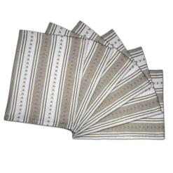 Kitchen Towels / Napkins 100% Cotton (Set Of Six) Brown and white