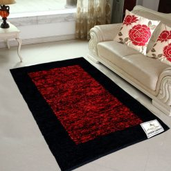 Avioni Rugs  Red And Black Border Carpets For Living Room Actual Feather Touch- Softness Guaranteed-Handloom Made Reversible Light Weight